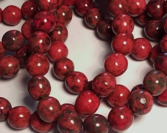 10pcs Red Picasso Beads - 8mm Beads - Czech Glass Beads - Boho Rustic Jewelry Supplies - BB73