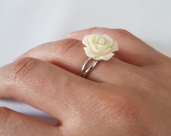 Adjustable Yellow Rose Ring - Resin Flower Ring - Silver Plated - Resin Jewelry - Costume Jewelry