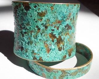 Turquoise Patina Cuff/ Patina Cuff/ Wide Patina Cuff/ Patina Bracelet/ Verdigris Cuff Bracelet/ Bohemian Chic/ Rustic Patina Cuff
