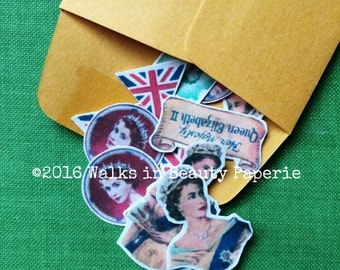Vintage Queen Elizabeth II Hand-cut Stickers