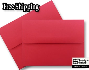 """Festive Red A6 Envelopes for 4 1/2"""" x 6 1/4"""" Invitations Cards Announcements Weddings Photo Gift Shower Astrobrights Re-Entry Red"""