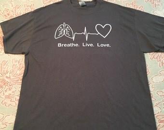 Breath live love tshirt // medical tshirt //respiratory therapy shirt // rt shirt