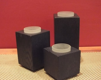Modern wood tealight candle holder set