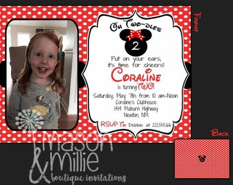 Oh Two-dles - Inspired 2nd Birthday Party Photo Invitation - RED