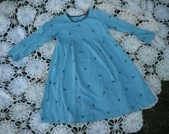 Vintage Lands End Girls cotton knit long sleeve dress, size 5, with super cute Reindeer motif on ice blue green background, so soft cotton