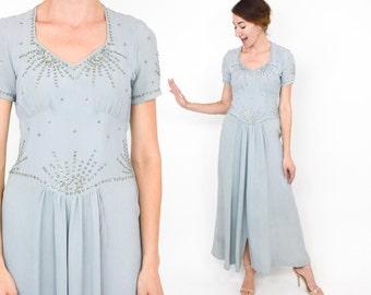 40s Beaded Evening Dress   Powder Blue Crepe Dress, Small