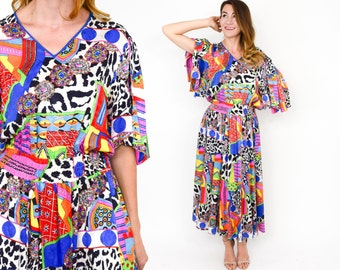 80s Diane Fres Colorful Op Art Dress | Medium Large