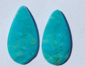 One Pair Rare Patagonia Arizona Turquoise Teardrops, cabochons, 22 x 12 mm,  10.25 ct, stabilized turquoise, C3719