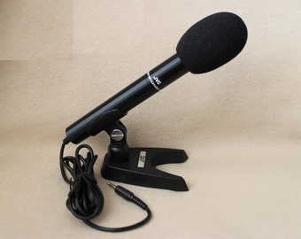 Vintage 70s Japanese JVC Microphone MU -103E, Electret Condenser Microphone with Stand in Box, made in Japan