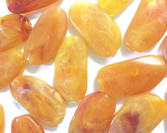 Large MARIGOLD Gem Stone Beads - Acrylic Beads that look like stained glass for Jewelry Making-Necklaces, Bracelets, or Earrings! 45x25mm St