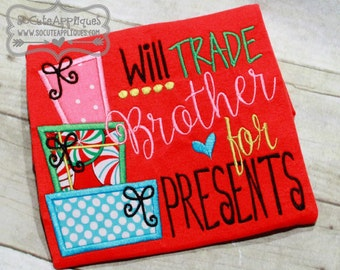 Embroidery design 5x7 6x10 Will trade brother sister for presents, socuteappliques, Christmas embroidery, Christmas applique