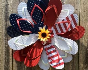 Patriotic Flip flop wreath Red white and blue American Flag insprired door hanger sunflorwer center flipflop wreath