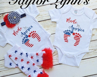 Baby's fourth of July, baby's first fourth of July, baby boy 4th if July, baby girl fourth of July, twins fourth of July, 4th of July onesie