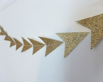 Gold Glitter Triangle Tribal Geometric Paper Garland | Geometric Party Decor