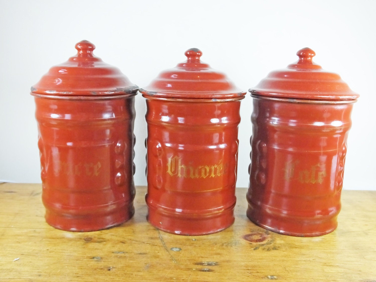 vintage french enamel kitchen canisters caddies tea coffee red