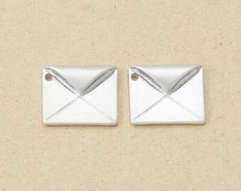 Envelope Pendant, Jewelry Craft Supplies, Brass Pendant, Handmade Jewelry, Matte Rhodium Plated over Brass - 4 Pieces-[BP0053]-MR