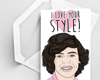Valentine's Day Greeting Card, I Love Your Style Card, Harry Styles Inspired Card, Stylish Valentine's Day Greeting Card, I Like your style