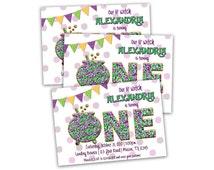 Printable Girl Halloween First Birthday Invitations - Cauldron First Birthday Invitation - October First Birthday Girl - Purple Green witch