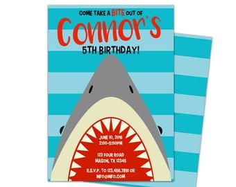 shark party invite  etsy, party invitations