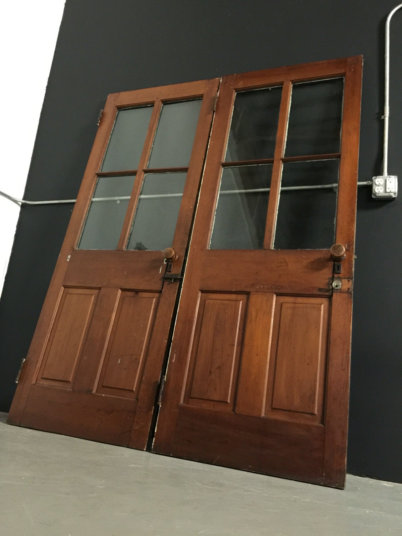 1870 S Farmhouse French Doors W Wooden Doorknobs Amp Wavy
