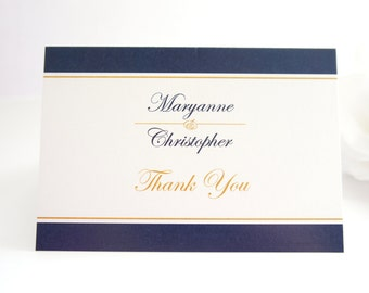Navy and Gold Thank You Cards - Elegant Wedding Thank You Card, Printed Thank You Card - DEPOSIT