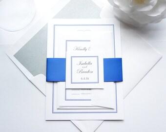 Blue Monogram Wedding Invitation, Royal Blue Wedding Invitation Set, Blue Wedding Invites, Elegant Wedding Invitation, Formal - Deposit