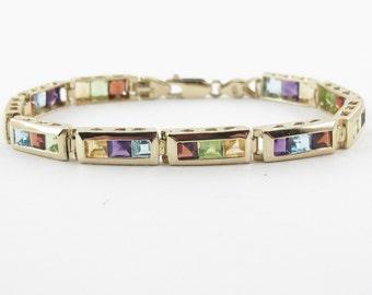 "14k Yellow Gold Multi Color Princess Cut Gemstones Rainbow Bracelet 7 1/4"" 11.8 grams"