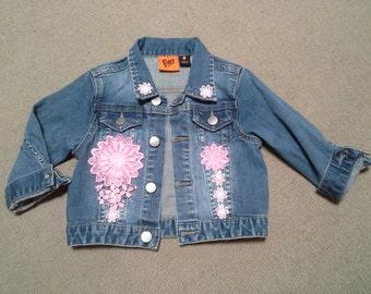 GIRLS JEAN JACKET boho denim jacket, hippy toddler jacket, pink flower girl, birthday party coat, winter denim jacket, 1 2 3 year old