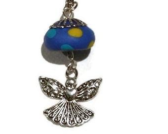 Guardian Angel Pendant - Silver Angel Charm - Handmade Polymer Clay Bead - Polymer Clay Jewelry - You Are My Angel - Love Heart Angel