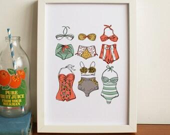 Retro Bikinis A4 Print