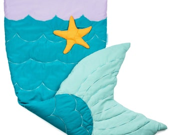 Quilted & Embroidered Mermaid Tail Blanket (Ages 3 - 12) Sleeping Bag Sack Nap Mat Fleece ...