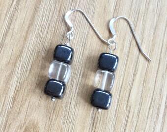 Hematite & Glass Cube earrings, semi-precious, sterling silver, square