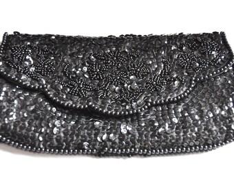 Black sequins clutch