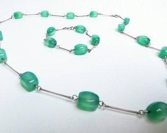 Silver set necklace bracelet green jade color glass beads