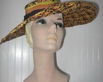 1940's Wide Brim Multi-Color Cellophane Straw Hat with Grosgrain Trim