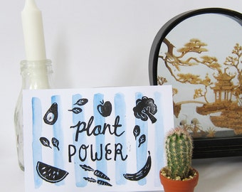 plant power lino print - a6 -