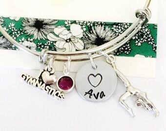 Gymnastics Bracelet, Gymanstics Jewelry, Gymnast Bracelet,  Personalized Name Bracelet, Little Girls Bracelet, Teen Bracelet,