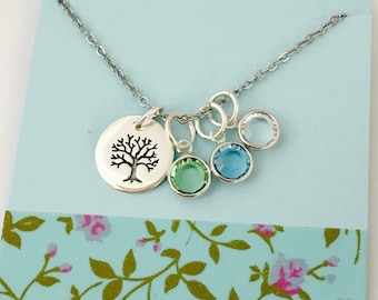 Grandma Necklace, Family Necklace, Sterling Silver Grandma Necklace, Mom Birthstone Necklace, Personalized Necklace, Family Tree