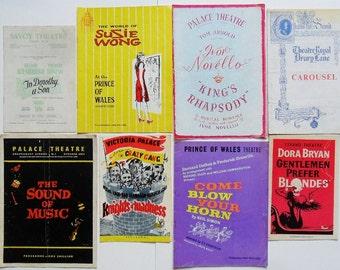 Vintage Theatre Programs 1950s 1960s London British Theatrical Paper Ephemera Collectible