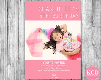 Custom Photo Birthday Invitation  - Girl Birthday Invite - Girls Pink Invitation - Girls Birthday Pink Invite - Girlie Invitation Style 30