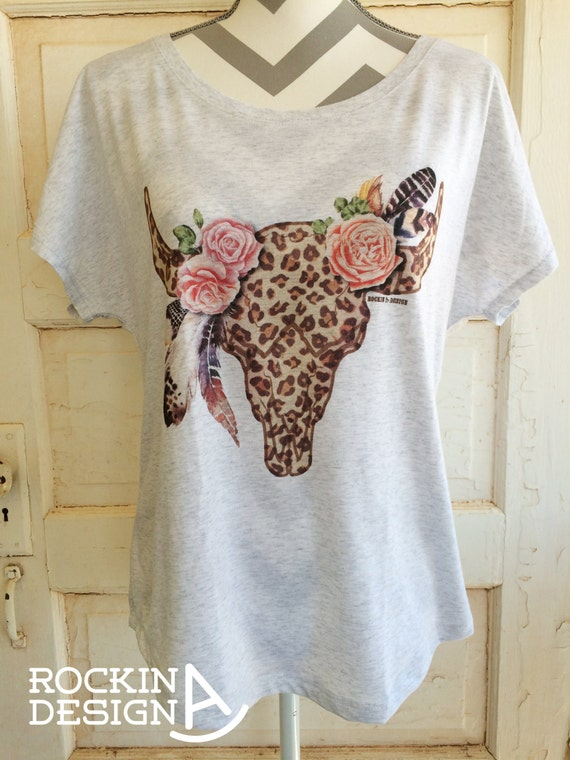 Cheetah Print Floral Monogram Design Shirt