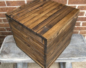 Made to Order - 15 Inch Storage Cube - Rustic Vinyl Record Storage Box - Wooden Crate Style Box - Short Side Table Box - Country Storage Box