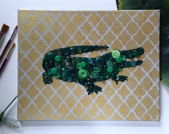 Alligator painting - vintage button mosaic - gold and green - home decor - wall art
