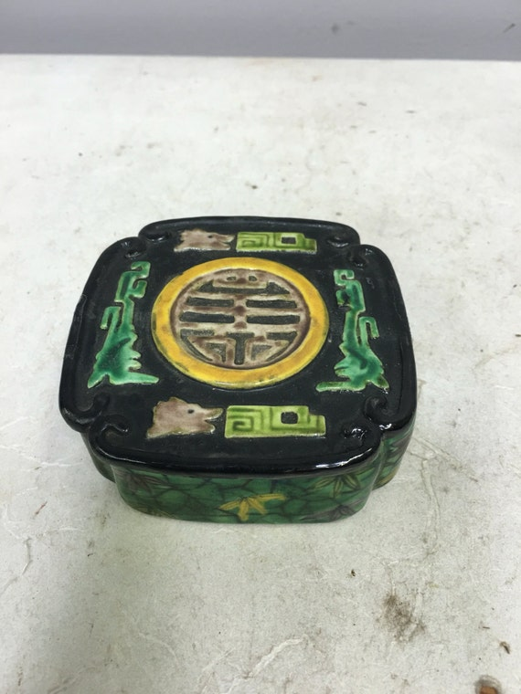 Asian Chinese Box Porcelain Box Hand Painted Handmade Handcrafted Chinese Symbols Home Decor Gift for Her Gift for Him Box Colorful