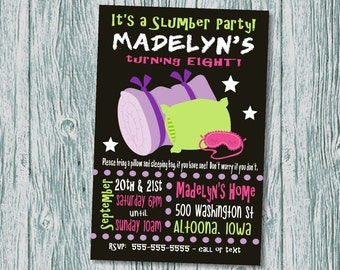 Slumber Party Invitation Digital File Print at Home