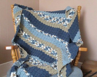 Items similar to Hand Crocheted Wide Stripe Afghan in Hot ...
