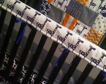 Custom Crib Bedding Set, Made to Order, Orange, gray,navy, crib skirt, sheet, baby blanket