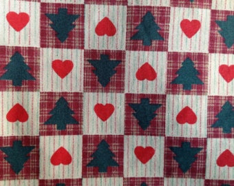 Christmas Tree and Heart Fabric