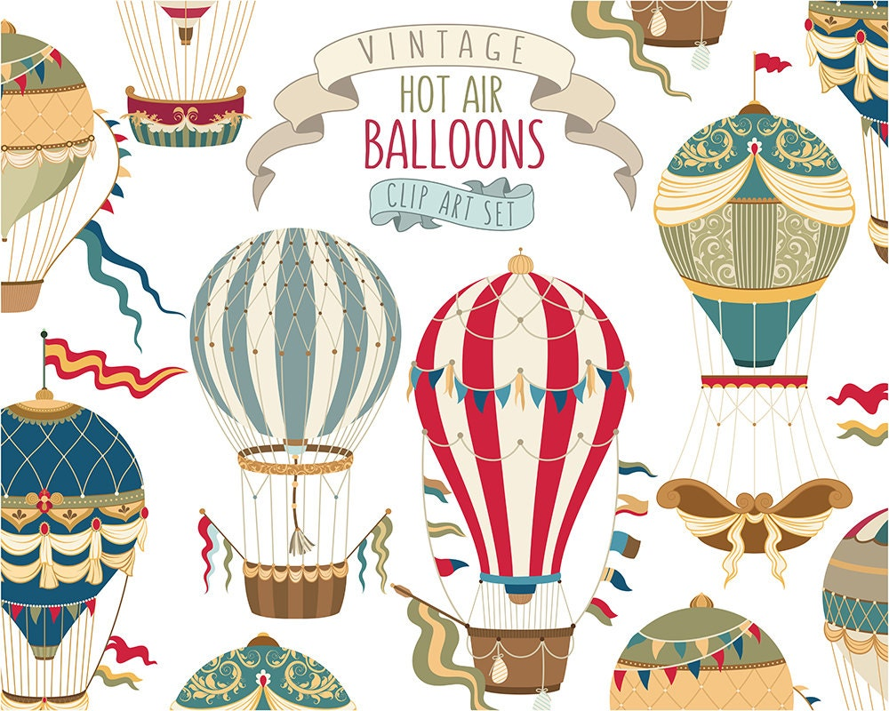 Vintage Hot Air Balloon Clipart Unique Vector PNG & JPG