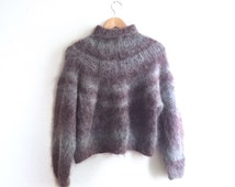 purple and grey striped mohair turtleneck sweater // fuzzy sweater // vintage 90s 80s